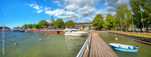 Foto auf Leinwand Skandinavien Waterfront and marina in Naantali town at sunny day. Finland