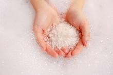 Bath Salts In Hand. Aromatic S...