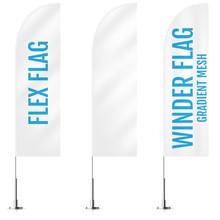 White Textile Flex Or Winder Banner Flags. Banner Flag Mockups Set. Set Of Vector Advertising Mockups.