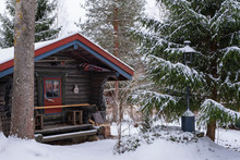 Log Cabin In Winter In Northern Europe Finland