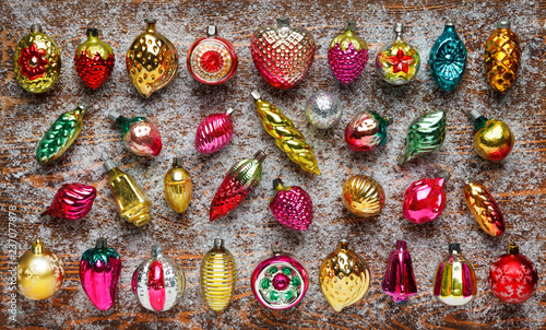 Pattern Of Antique Christmas Toys On A