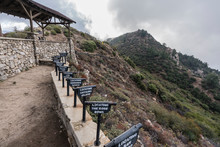 Historic Viewing Tubes At Inspiration Point Lookout In The San Gabriel Mountains And Angeles National Forest Above Los Angeles, California.