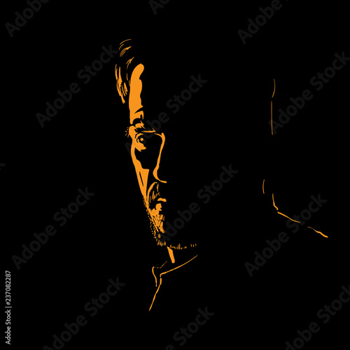 Fotografie, Obraz  Man portrait silhouette in backlight
