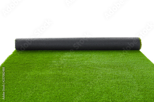 Fotomural Rolled artificial grass carpet on white background