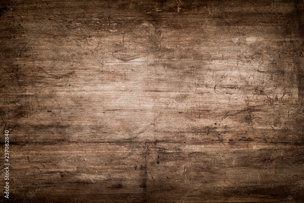Fototapeta Dark Brown Wood Texture with Scratches