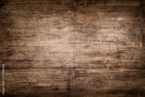 Dark Brown Wood Texture with Scratches Wallpaper Mural