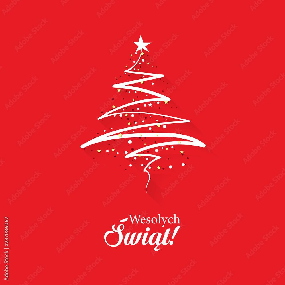 Fototapeta Koncepcja kartka świątecznej z napisem Wesołych Świąt po polsku z abstrakcyjną, nowoczesną choinką na czerwonym tle