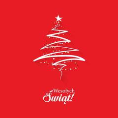 Koncepcja kartka świątecznej z napisem Wesołych Świąt po polsku z abstrakcyjną, nowoczesną choinką na czerwonym tle