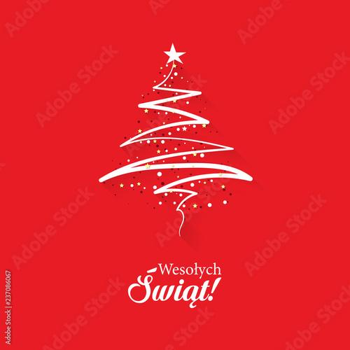 Fototapeta Koncepcja kartka świątecznej z napisem Wesołych Świąt po polsku z abstrakcyjną, nowoczesną choinką na czerwonym tle obraz