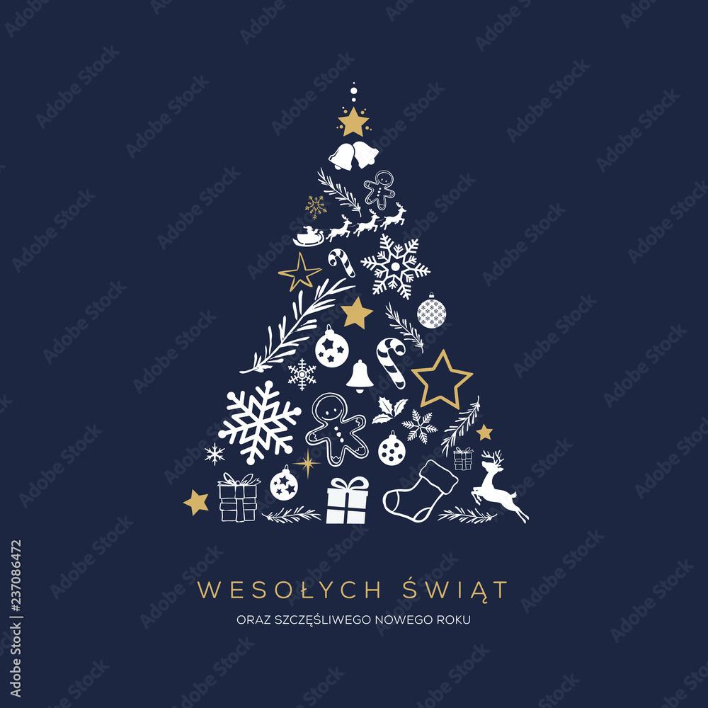 Fototapeta Koncpcja kartki świątecznej z napisem Wesołych Świąt po polsku. Abstrakcyjny kształt choinki ułożony ze świątecznych symboli