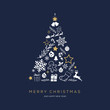 Leinwanddruck Bild - Greeting card concept with the words Merry Christmas. Abstract Christmas tree shape arranged with festive symbols