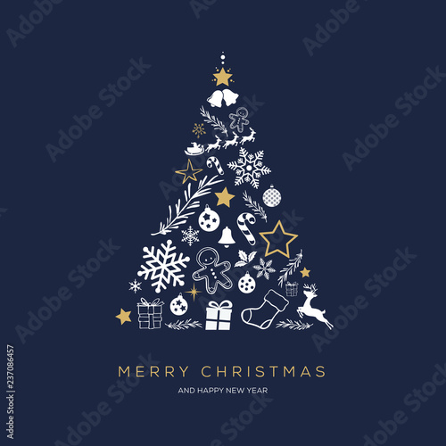 Greeting card concept with the words Merry Christmas. Abstract Christmas tree shape arranged with festive symbols Wall mural