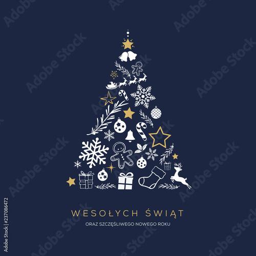 Photographie  Koncpcja kartki świątecznej z napisem Wesołych Świąt po polsku