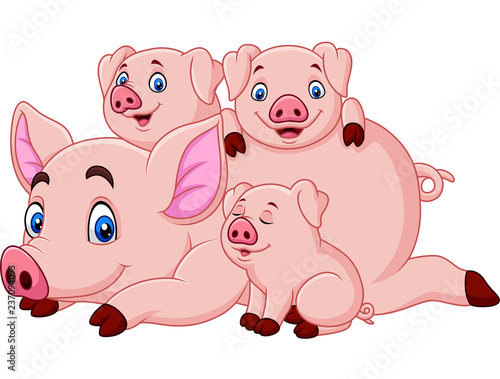 Cartoon happy pig mother with piglets Canvas