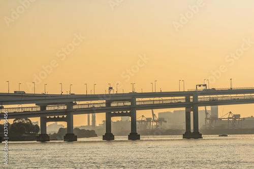 Deurstickers Aziatische Plekken 夕方のレインボーブリッジ Rainbow Bridge in Tokyo