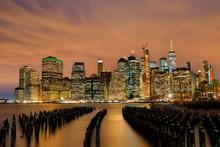 Manhattan Skyline At Night, New York City, USA