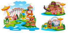 Set Of Isolated Theme Park