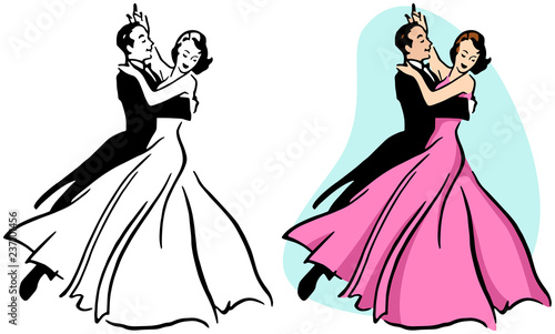 Canvastavla A couple ballroom dancing.