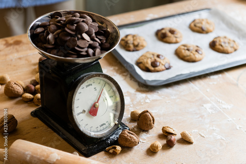 Homemade chocolate chip cookies food photography recipe