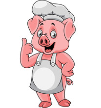 Cartoon Happy Pig Chef Giving A Thumb Up