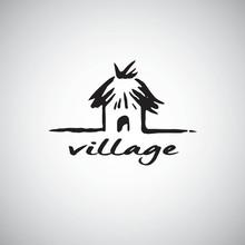 Hut Logo Design Template. Hand...