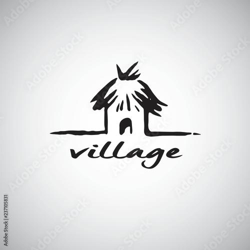 Tablou Canvas Hut Logo Design Template. Hand Drawn Vector Illustration