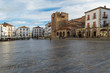 CACERES, SPAIN - NOVEMBER 25, 2018: Panoramic view of the Main Square. World Heritage City, awarded by Unesco.