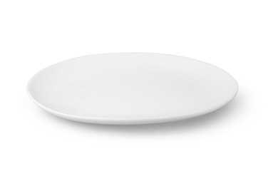 Round plate or dishe isolated on white with clipping path