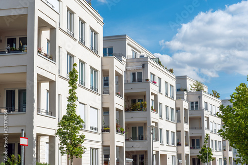 Fotografie, Tablou Row of white modern apartment houses seen in Berlin, Germany