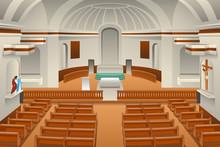 Interior Of A Church Illustration