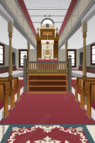 Fotografie, Obraz Interior of a Synagogue Illustration