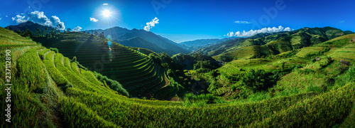 Fotobehang Rijstvelden Rice fields on terraced with wooden pavilion on blue sky background in Mu Cang Chai, YenBai, Vietnam.