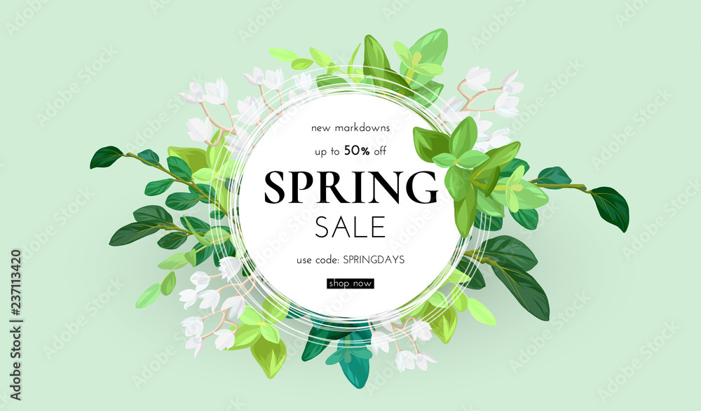 Fototapety, obrazy: Floral spring design with white flowers, green leaves, eucaliptus and succulents. Round shape with space for text. Banner or flyer sale template, vector illustration.