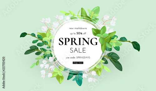 Obraz Floral spring design with white flowers, green leaves, eucaliptus and succulents. Round shape with space for text. Banner or flyer sale template, vector illustration. - fototapety do salonu