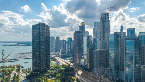 Foto op Aluminium Verenigde Staten Chicago skyline aerial drone view from above, lake Michigan and city of Chicago downtown skyscrapers cityscape, Illinois, USA