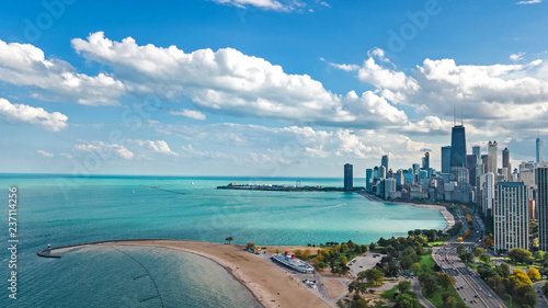 Deurstickers Centraal-Amerika Landen Chicago skyline aerial drone view from above, lake Michigan and city of Chicago downtown skyscrapers cityscape, Illinois, USA