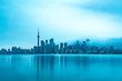 canvas print picture - Skyline of Toronto on a cold morning