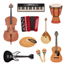 Musical Instruments Set, Cello, Violin, Drum, Cymbals, Dombra, Maracas, Guitars, Accordion Vector Illustration On A White Background