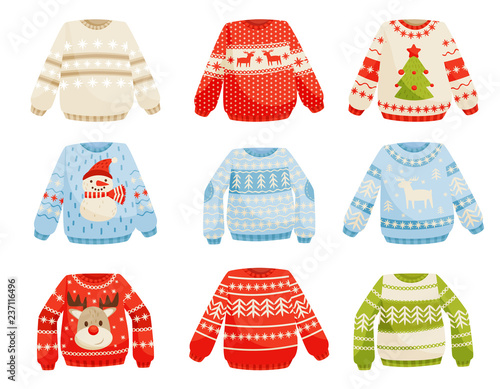 Платно Christmas sweaters set, warm knitted jumper with cute ornaments vector Illustrat