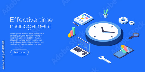 Fotografie, Obraz  Effective time management isometric vector illustration