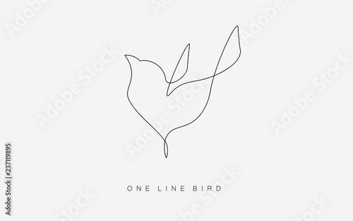 Fototapeta Birds flying vector one line drawing isolated on the white background. Logo or icon modern bird concept. Vector illustration. obraz