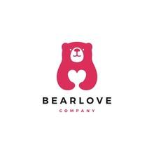 Bear Love Logo Vector Icon Illustration