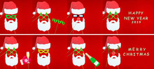 Flat Designed Set Collage Of  Funny Hipster Santa With Colorful Glasses, Red Santa's Hat, Beard And Mittens Isolated On Red Background. Merry Christmas Eve And Happy 2019 New Year Background.