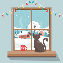 Christmas Window With Winter L...