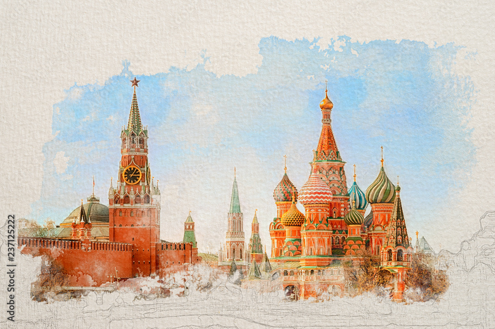 Fototapety, obrazy: Stylized by watercolor sketch painting of Moscow Kremlin and St Basil's Cathedral on the Red Square in Moscow, Russia on a textured paper. Retro style postcard.