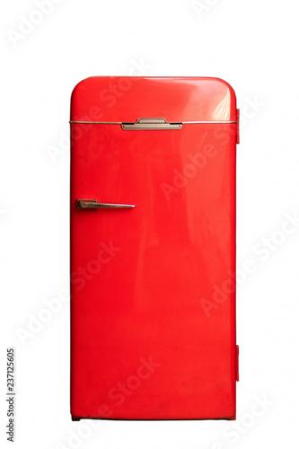 red big retro fridge isolated on white background