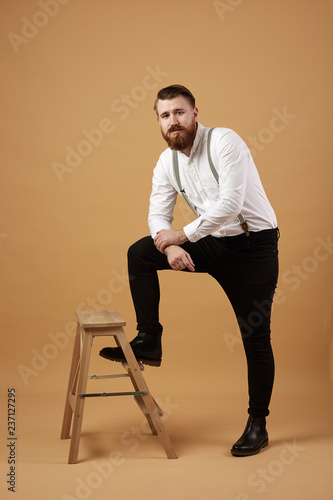 Admirable Stylish Red Haired Man With Beard Dressed In A White Shirt Ocoug Best Dining Table And Chair Ideas Images Ocougorg