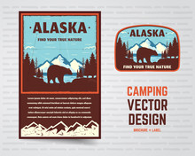 USA Poster And Badge. Alaska With Mountains, Bear And Forest Landscape. Vintage Flyer Design. Stock Vector Illustration Isolated On White Background