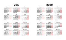 Simple 2019 2020 Calendar Grid...