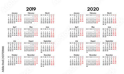 Weekend Calendar 2020 simple 2019 2020 calendar grid, starts monday, two weekend   Buy